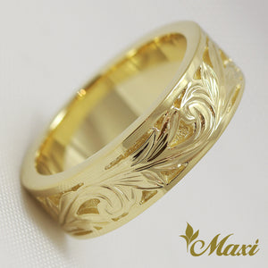 [14K Yellow Gold] Cut In Sand back Ring/Hand Engraved Traditional Hawaiian Design (KR0002) [Made to Order]