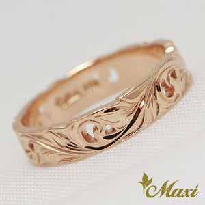 14K Pink Gold -Hand Engraved Traditional Hawaiian Design (KR0049)