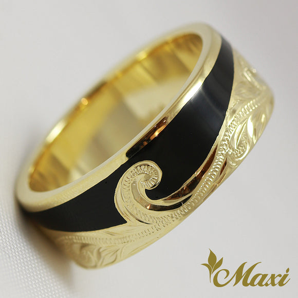 [14K Yellow Gold] Enamel Wave Ring Small-Hand Engraved Traditional Hawaiian Design (R0298)