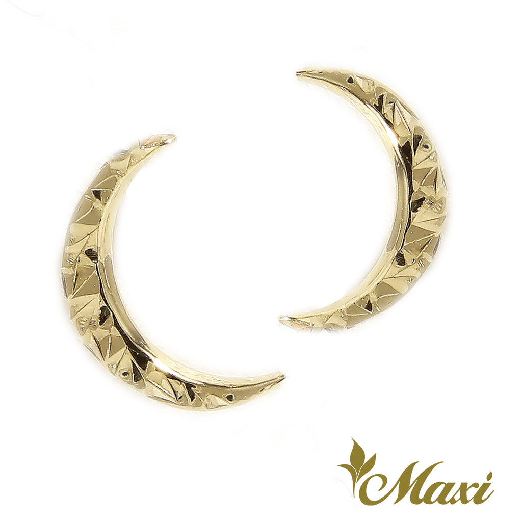 [14K Gold] Waning Crescent Moon Pierced Earring*Made-to-order*Newest