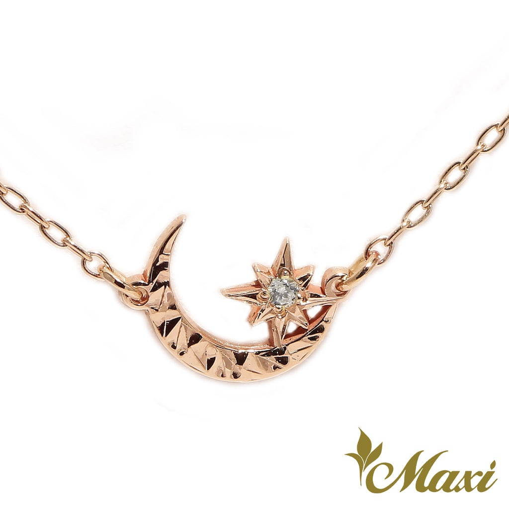 [14K Gold] Hoaka Crescent Moon&Hoku Star Necklace *Made to order*Newest