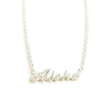 Silver 925 Custom Letter Necklace Small-Hand Engraved Traditional Hawaiian Design (N0202)