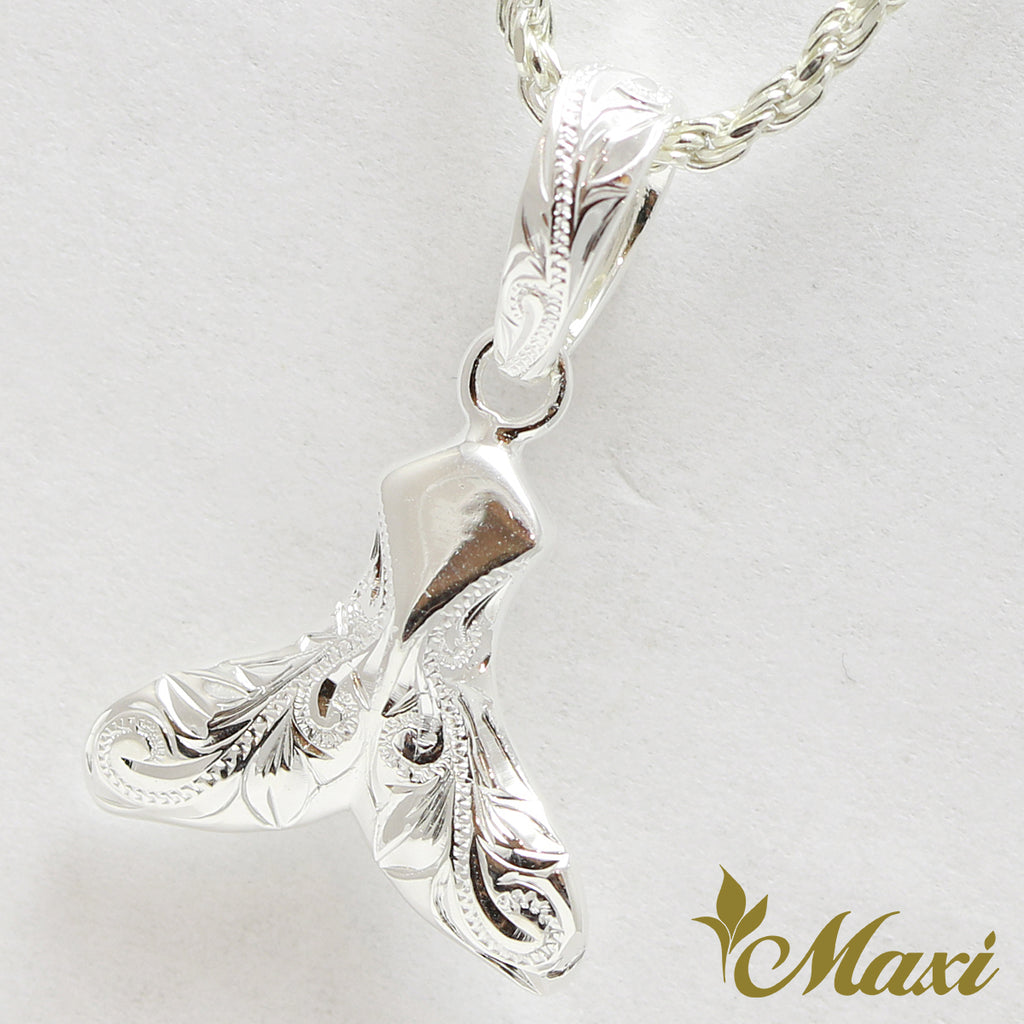 [Silver 925] Whale Tail Pendant-Hand Engraved Traditional Hawaiian Design*Made to Order* (P1230)