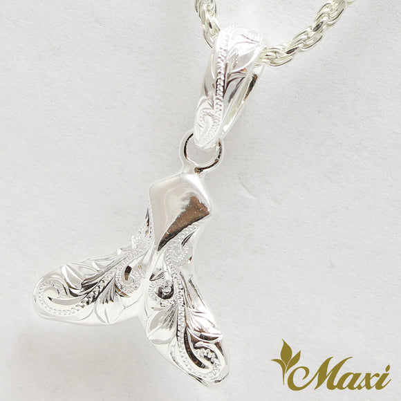 Silver 925 Whale Tail Pendant-Hand Engraved Traditional Hawaiian Design (P1230)