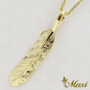14K Gold Feather Pendant Small-Hand Engraved Traditional Hawaiian Design (P1184)