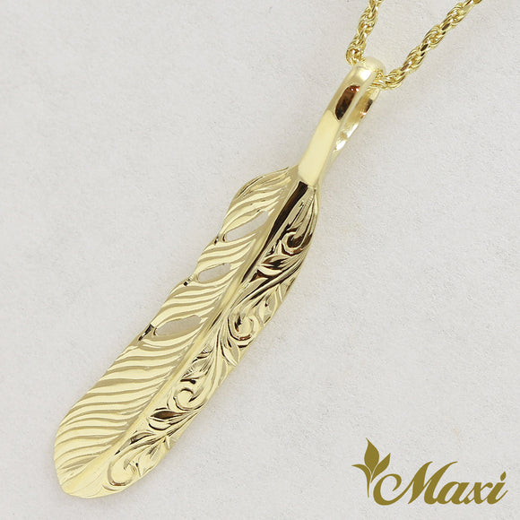 14K Gold Feather Pendant Small-Hand Engraved-Hand Engraved Traditional Hawaiian Design (P1184)