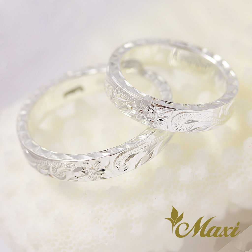 [Silver 925] Couple Flat Ring Set 4mm (R0760) [$50 off]