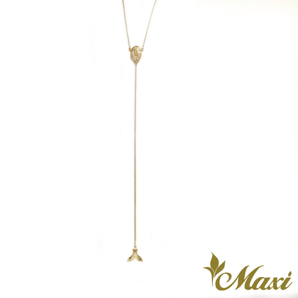 [14K Gold] 80cm Rosary Style Necklace - Whale Tail Charm  *Made-to-order*(N0347)