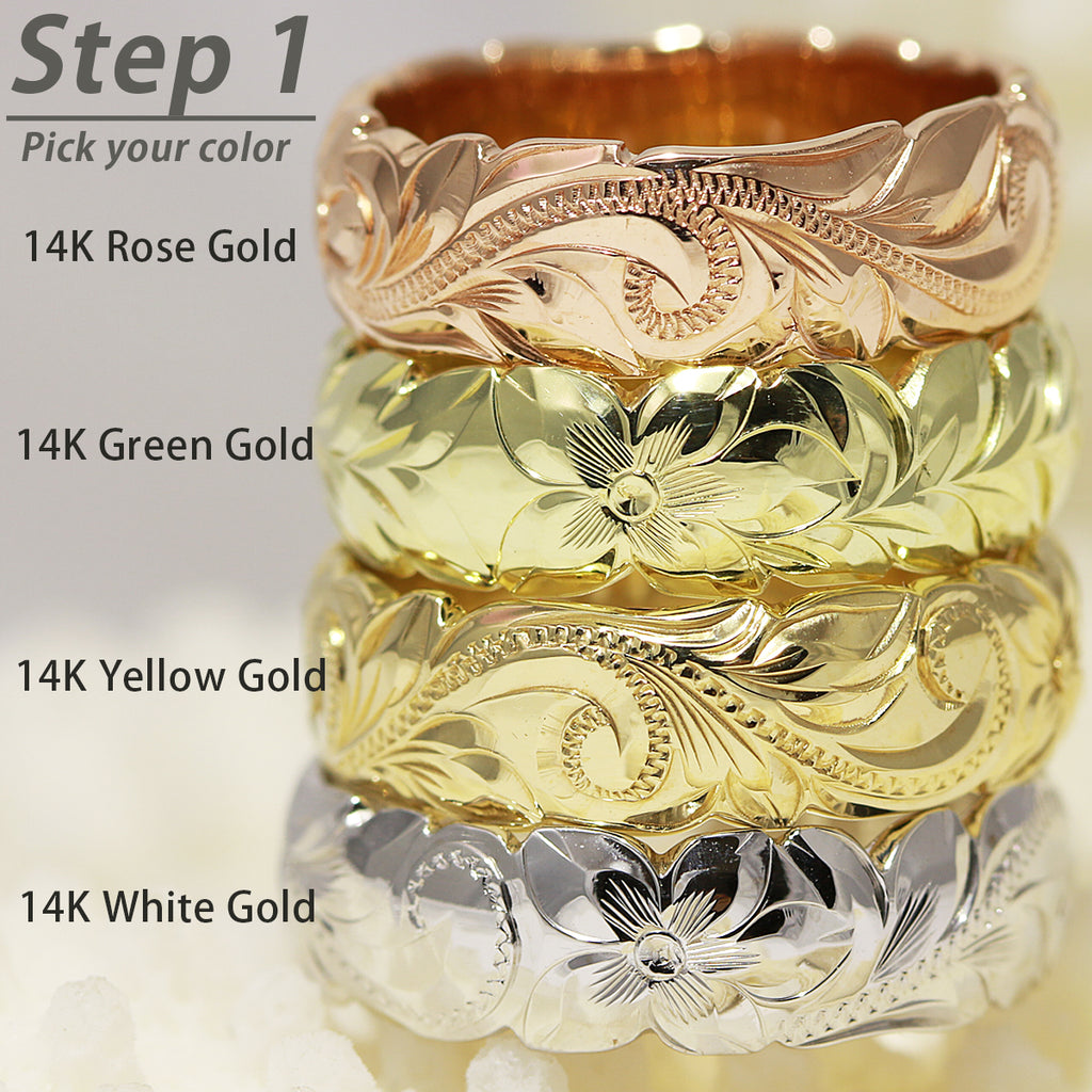 14K Gold Customized Hawaiian Bangle Bracelet/ 8mm Width/ Hand engraved Hawaiian Heritage Design/ Close