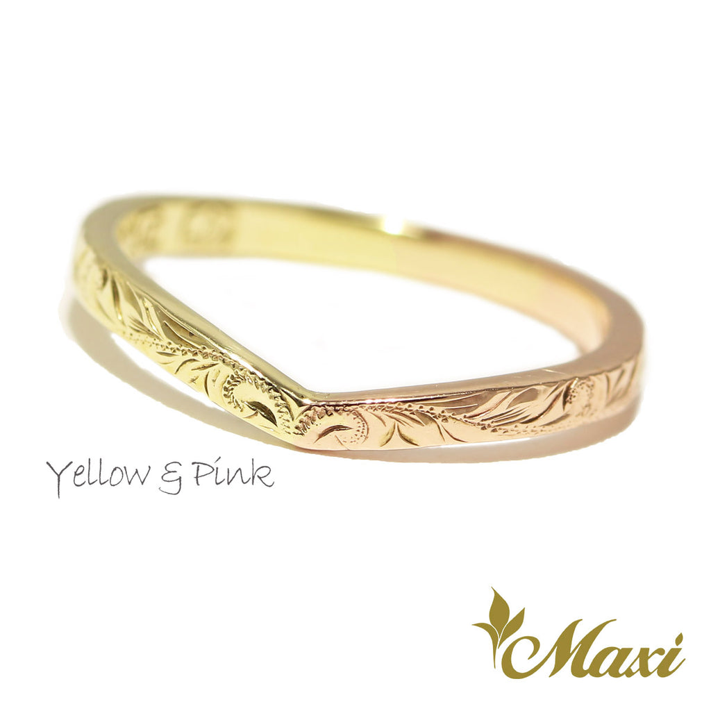 [14K Gold] 2mm Kohola Whale Tail Ring-Two Tone *Made to Order*(TRD)