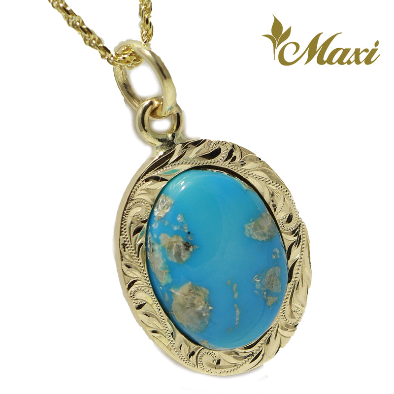 [14K Gold]Turquoise Pendant-Medium(17x14mm)