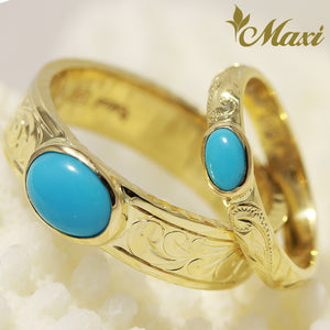 [14K Gold] Turquoise Ring 6mm/3mm - Fashion/ Couple [Made to Order]
