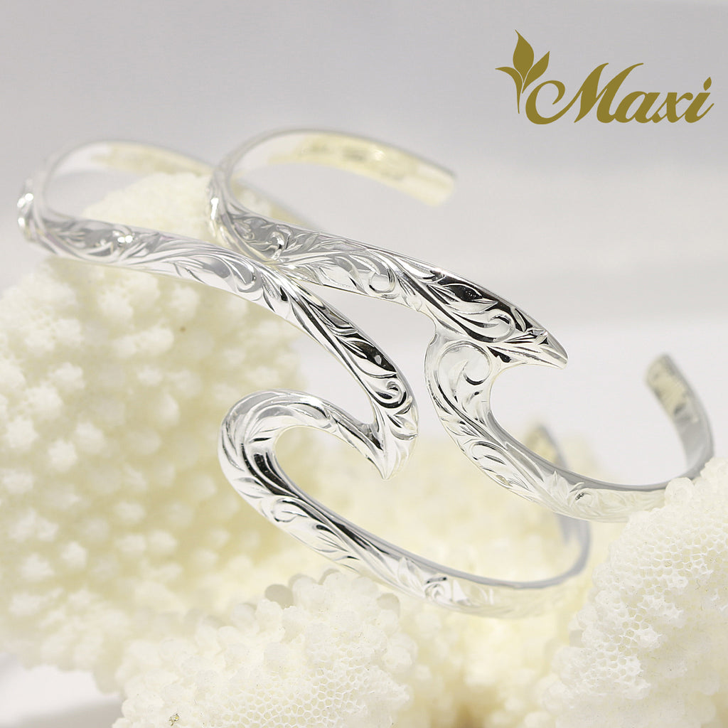 [Silver 925] Large&Small Wave Bangle Bracelet Set (B0585 & B0586) [Made to Order]