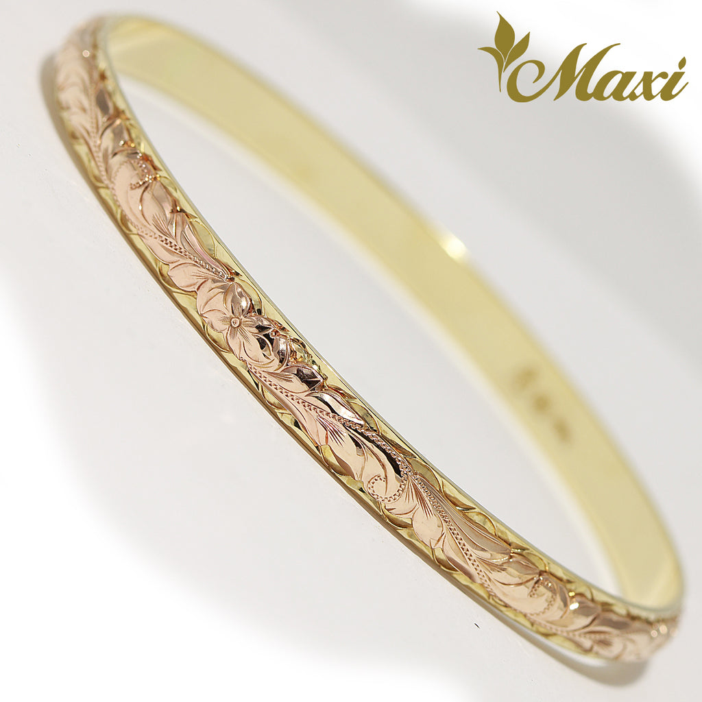 [14K Gold] Two Tone 6mm Bangle Bracelet