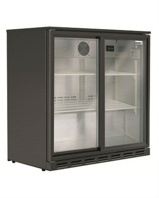 190L Double Glass Door Fridge HUS‐C2‐840‐HY-BLK