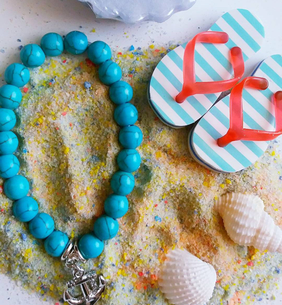 turquoise, bracelet, women's, fashion, anchor, summer, beads, beaded