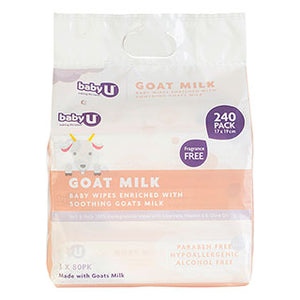 Baby U Goats Milk Baby Wipes - 240 pack