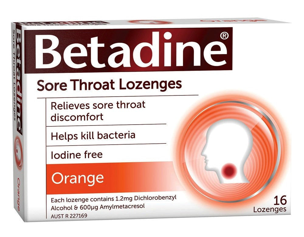 Betadine Sore Throat Lozenges Orange