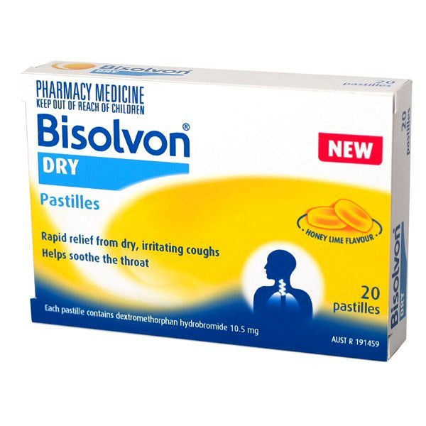 Bisolvon Dry Cough Pastilles Honey Lime 20