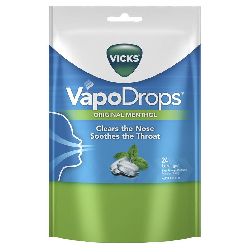 Vicks VapoDrops Original Lozenges 24 Box x4
