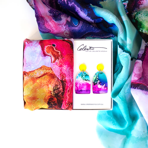 """Brights"" Earring & Scarf Gift Pack"