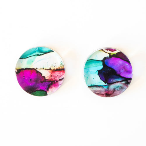 """Exhale V"" Small Round Studs"