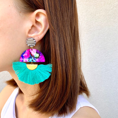 """Bougainvillea"" Tassel Dangle Earrings"