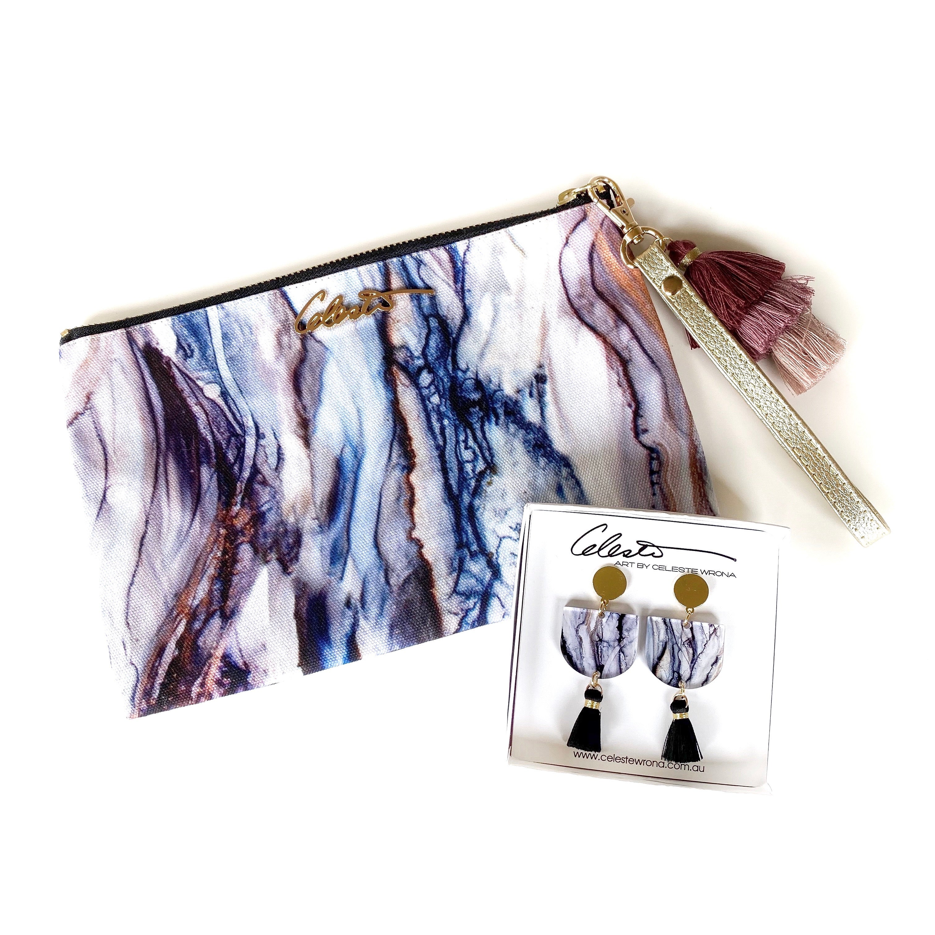 """Ghostly Gum"" Clutch & Dangle Earring Pack"