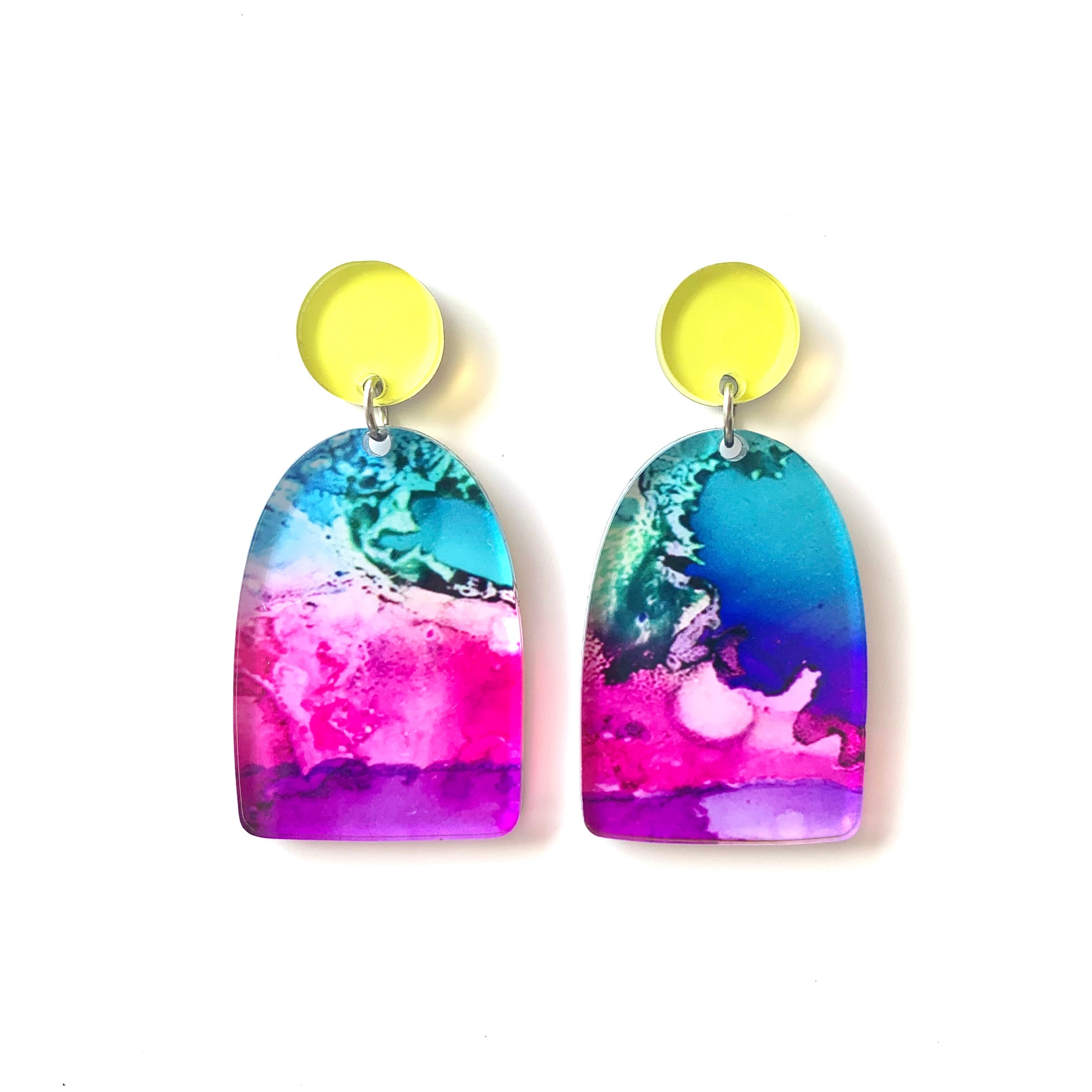 """Drifting III"" Arch Dangle Earrings"