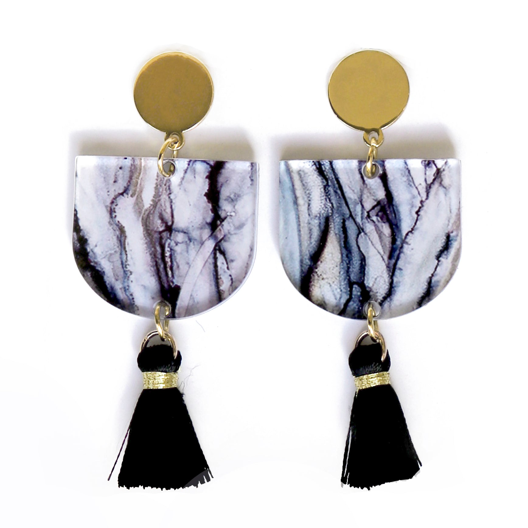 """Ghostly Gum"" Black Tassel Arch Dangle Earrings"