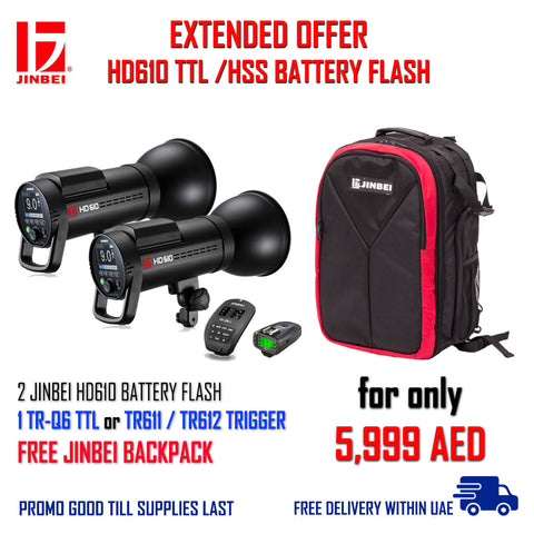 """JINBEI HD610 TTLL / HSS BATTERY FLASH"" PACKAGE"