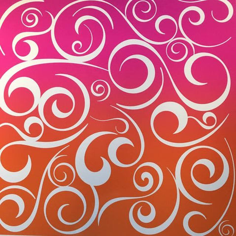 Swirls Pink Orange Self Adhesive Vinyl