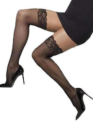 Fever Fishnet Hold-up with Lace Trim - Black