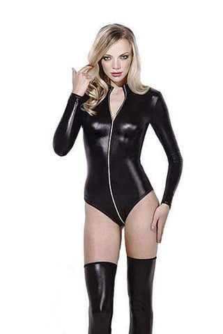 Leather zip-through bodysuit