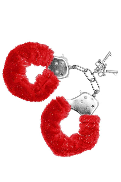 Sinful Pleasures - Furry Handcuffs - Red
