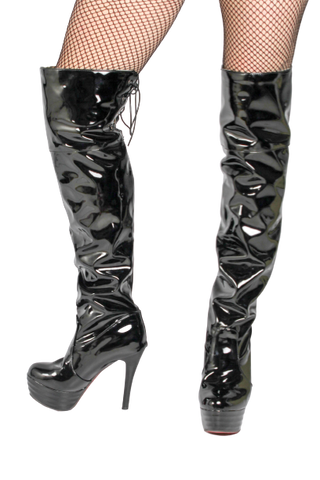 PVC Thigh High Boots, Lace-Up Top - Black