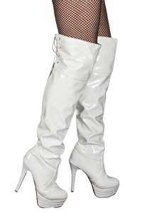 White PVC Thigh High Boots, Lace-Up Top