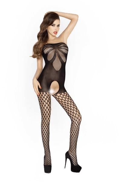 Passion Lingerie Bodystocking BS021 Leaf Pattern BLK