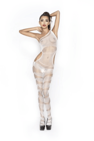 Passion Lingerie Bodystocking BS041 Off Shoulder WHT
