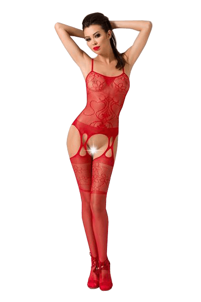 Passion Lingerie Bodystocking BS050 Floral Lace RED