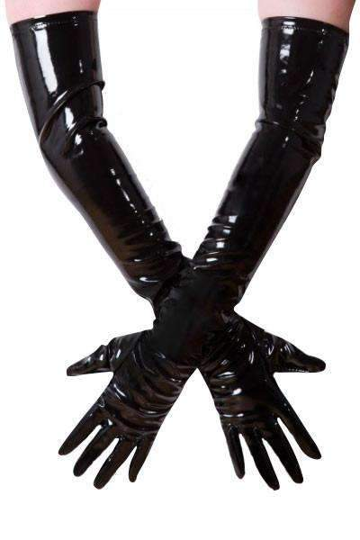 PVC Long Gloves - Black