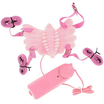 Butterfly Massager Strap-on Vibrator - Pink