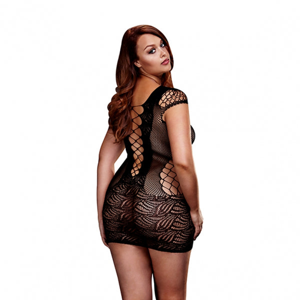 Corset Front Lace Mini Dress (Queen Size) - Black