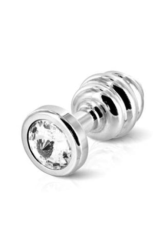 DIOGOL - ANO BUTT PLUG RIBBED SILVER PLATED 25 MM