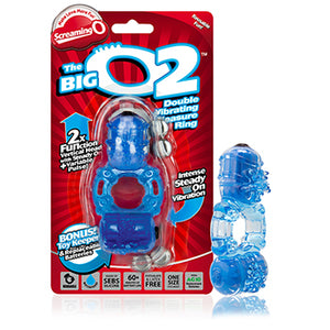The Big O2 - Double Pleasure Vibrating Cock Ring - Blue