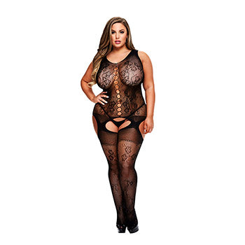 Crotchless Jacquard Bodystocking (Queen Size only) - Black