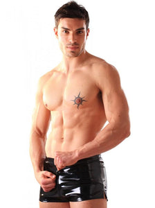 PVC Men's Boxer Shorts with Thru Zip - Black