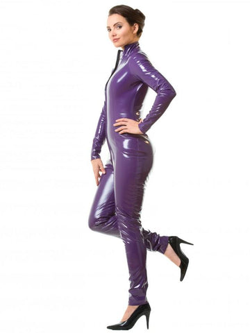 PVC Two way Zip Full Catsuit - Purple