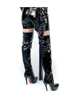 Black PVC Zip Up Thigh High Boots