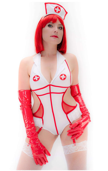Nurse Bodysuit with Headpiece and Suspender Clips